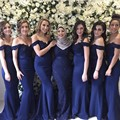 Mermaid Bridesmaid Dresses Long 2017 V-Neck Sleeveless Button Floor Length Chiffon 2016 Bridesmaid Dress Wedding Party Gowns