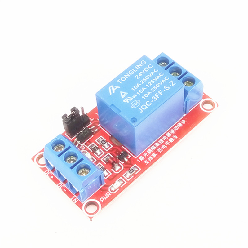 1 channel 24V Relay module ptocoupler isolation support high and low level trigger 1-channel relay expansion board blue red sla 24vdc sl a 1 channel low level dc 24v coil power relay module