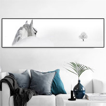 Large long White horse Poster Modern Home Wall Decor white animal Picture Art HD Print Painting On Canvas Artworks