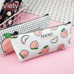Новый холст фрукты персик пенал школьные пеналы для девочек канцелярские холщовые пеналы estojo школьные принадлежности