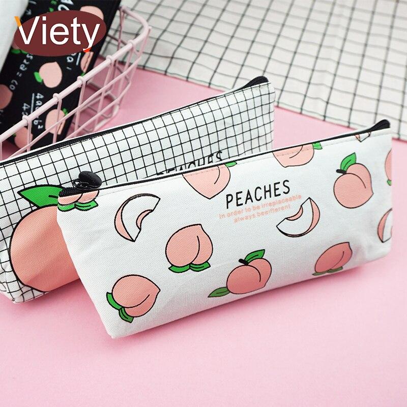 Bonito frutas pêssego lápis caso escola lápis casos para menina papelaria lona saco de lápis estojo escolar suprimentos