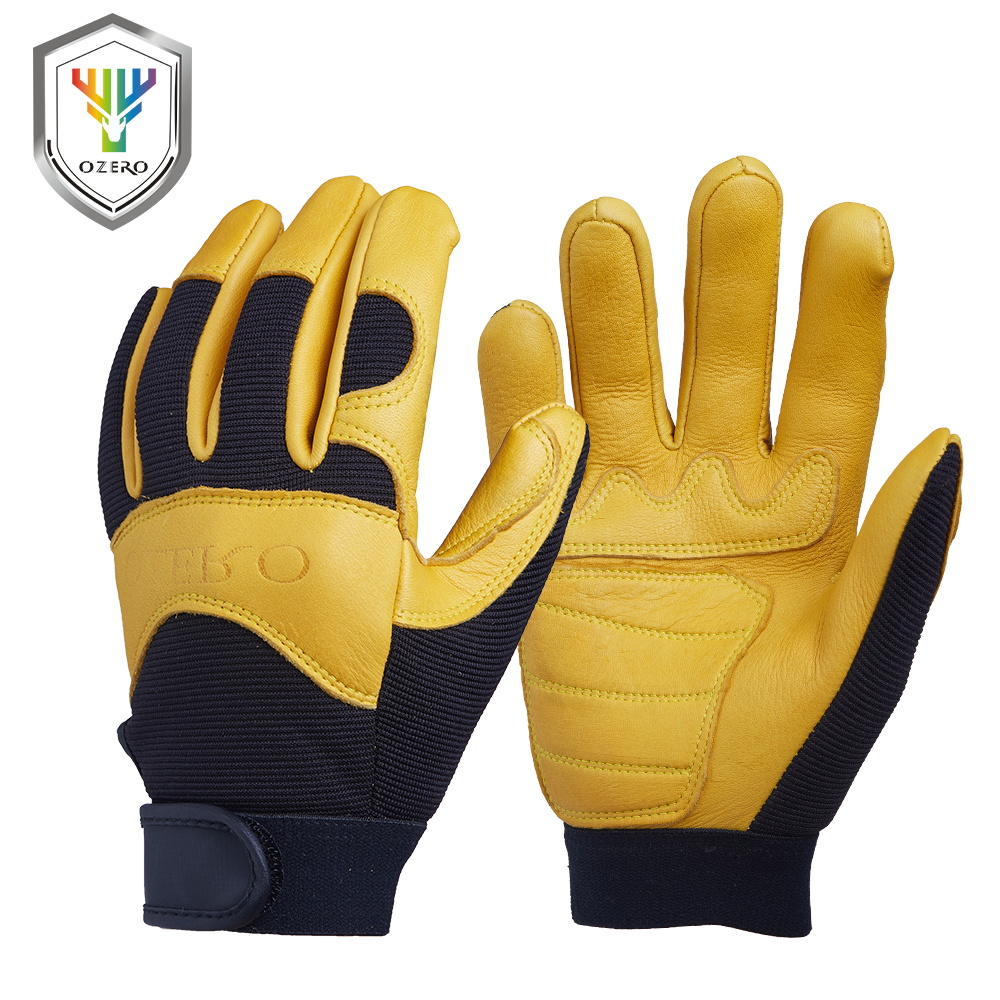 Leather work gloves china - Ozero Mechanics Work Glove Breathable Leather Garden Gloves Welding Cycling China Mainland