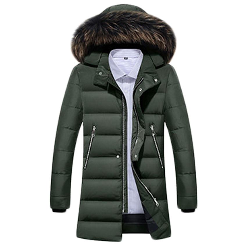 Livraison gratuite hommes doudoune fourrure col manteau élégant hiver veste hommes longue imperméable Parka vers le bas manteau pour homme 200hfx - 2