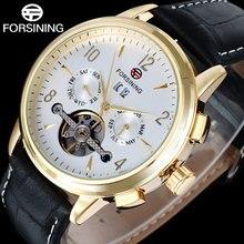 FORSINING мода марка мужчины механическая турбийон часы ремень из натуральной кожи мужская роскошь скелет дата авто часы relógio
