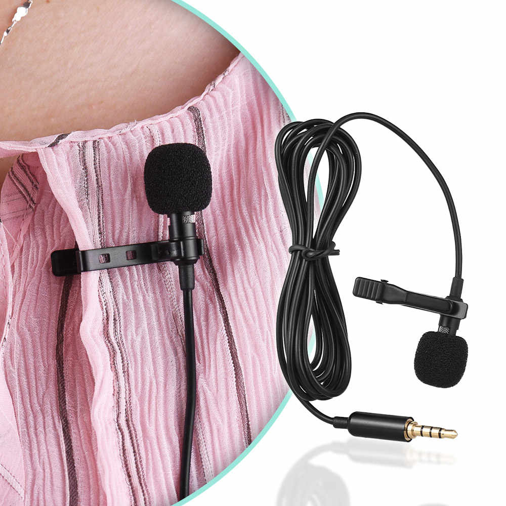 Andoer 1.45m Mini Portatile Microfono A Condensatore Clip-on Risvolto Lavalier Microfono Wired MICROFONO/Microfon per il Telefono per del computer portatile