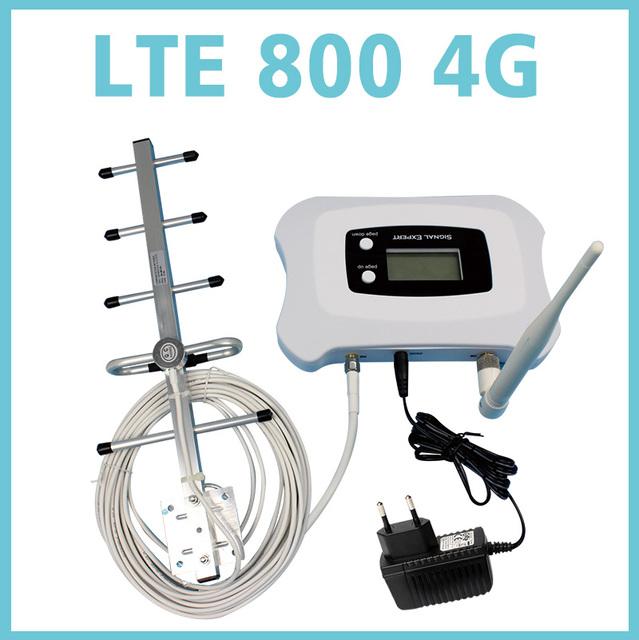 NUEVA manera! 4G LTE mobile amplificador de señal de 800 mhz de alta ganancia 4g amplificador de señal del repetidor kit con PANTALLA LCD + 350 metros cuadrados de cobertura