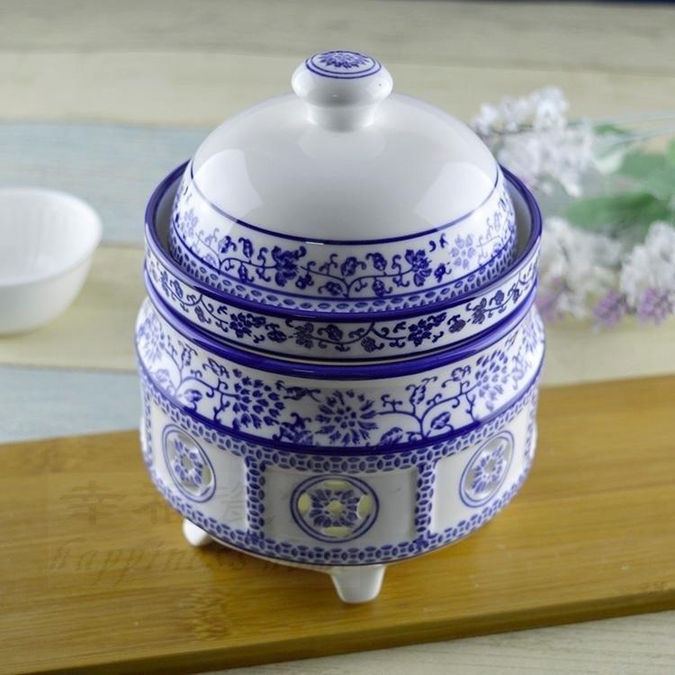 Guci hôtel Club haute qualité bleu blanc porcelaine sous glaçure en céramique bougie ragoût pot chauffage four nid d'oiseau ragoût bol