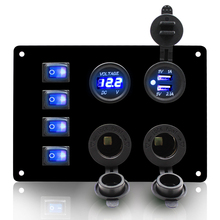 IP67 Waterproof Marine Car DIY 4 Gang Blue LED Toggle Switch Panel Dual USB Socket Charger 12V 24V Universal chint lighting switches 118 type switch panel new5d steel frame four position six gang two way switch panel