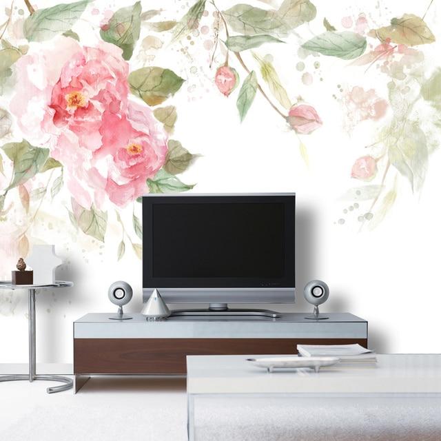 O envio gratuito de Rosa da arte da aguarela de não-tecido de papel de parede murais tamanho personalizado
