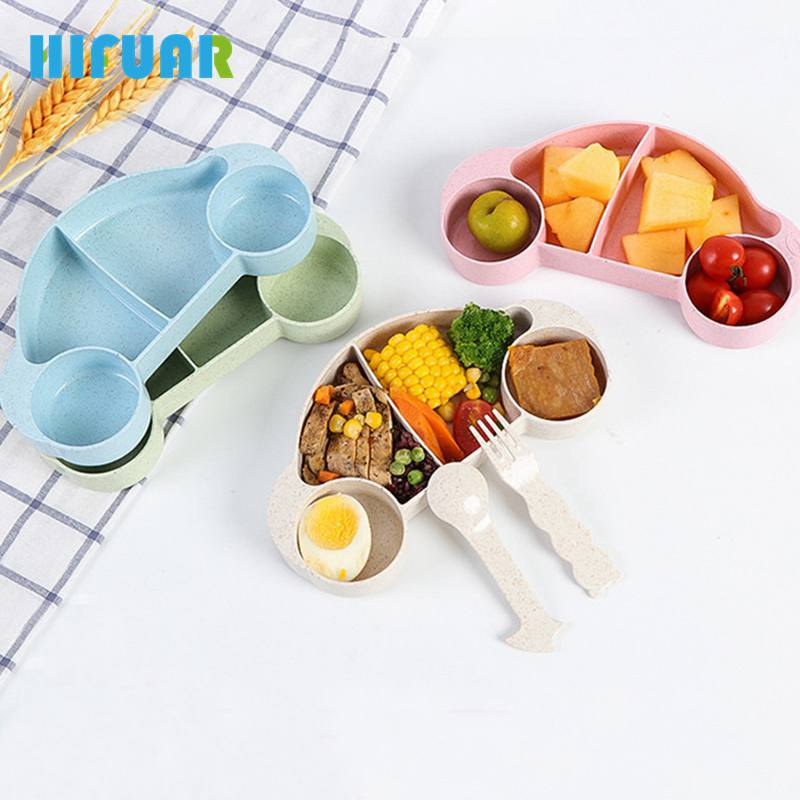 HIFUAR 3pcs/set Lunch Bowls Fork Set Food Containers for Kids Cartoon Car Tableware Set Dinner Plates Kitchen Accessories