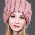 Rabbit Fur Winter Hat Female Lovely Cat Ears Knitted Beanies Caps Ear Protector Winter Bonnet Leisure Brand Knit Girls Hats