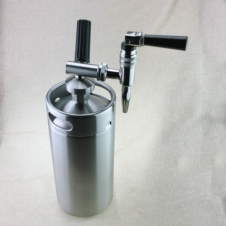 4L Mini Stainless Steel Keg With Nitro Faucet For Homebrew Coffee Maker