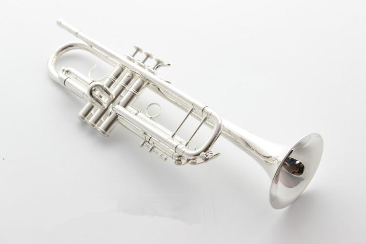 DHL LIVRAISON BACH haute qualité Trompette AB-190S Argent Plaqué B trompette plat Professionnel Trompette Musique Instruments trompettes
