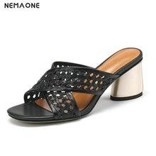 NEMAONE/женские босоножки на высоком каблуке с вырезами; летние модные сандалии-гладиаторы из натуральной кожи; обувь на платформе; женские повседневные тапки