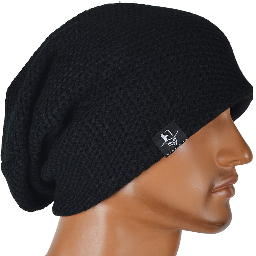 Men Knitted Slouchy Beanie Skullcap Cap Large Spring Autumn Winter Hat FORBUSITE mens summer cap thin beanie cool skullcap hip hop casual hat forbusite