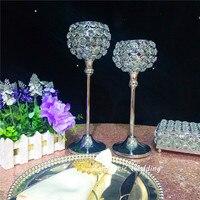 Распродажа сверкающие металла серебряный подсвечник хрустальный шарик мяч теперь для свадьбы Вечерние события домой украшение стола