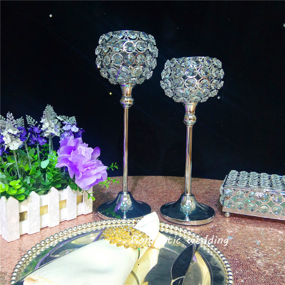 On Sale Splendent Metal Silver Candle Holder Crystal Bead Ball Now for Wedding party event home Table decoration
