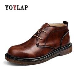 Vintage Ankle Genuine Leather Men Boots Dr Martins Spring Autumn Boots Men Black Brown Lace-up Work Shoes Men Bota Masculina
