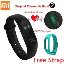 Stock xiaomi xiaomi mi banda 2 pulsera inteligente de pulso del ritmo cardíaco miband xiaomi mi banda 2 con pantalla oled de 2 pulseras + correa