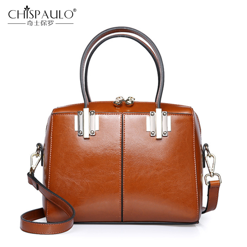 CHISPAULO Brand Genuine Leather Women Bags Fashion Ladies Handbags High Quality Natural Leather Shoulder Bag Female Boston Bag chispaulo women bags brand 2017 designer handbags high quality cowhide women s genuine leather handbags women messenger bag t235