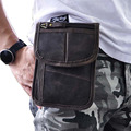 7 Inch Crazy Horse/Oil Wax Genuine Leather Men Military Waist Bag Loop Belt Cell Phone Case Fanny Pack Shoulder Messenger Bags