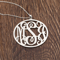 925 Silver Custom Disc Monogrammed Initals Name Necklace Personalized Round Pendant Jewelry Long Coat Necklace