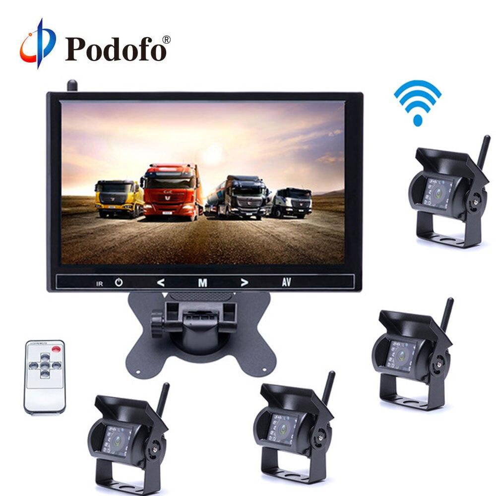 Podofo беспроводной 4 камеры заднего вида водонепроницаемый 18 ИК ночного видения, 9 дюймовый hd монитор монитор заднего вида для грузовика/прице