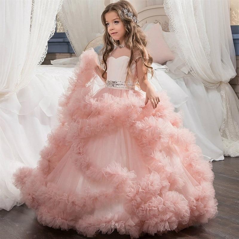 First feast princess Gorgeous Party Girls Dress Elegant Christmas Kids Dresses For Girls Clothes Children Kids Wedding Dress