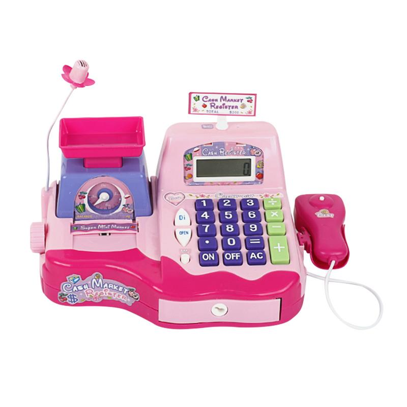 Kid toy cash register supermarket simulated scanning weighing machine electric set children plastic pretend play groceries toys цена