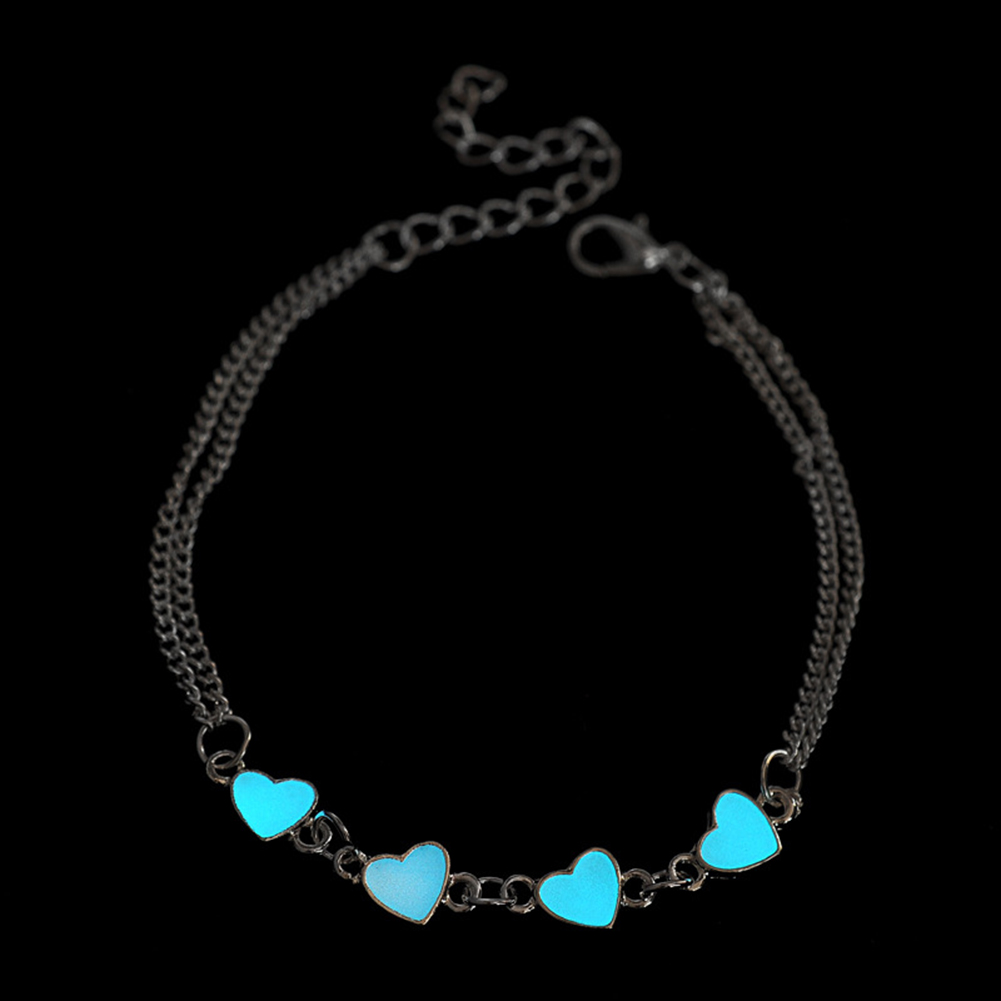 Bluelans Creative Glow In The Dark Luminous Bracelet Star Love Heart Flower Bangle Jewelry