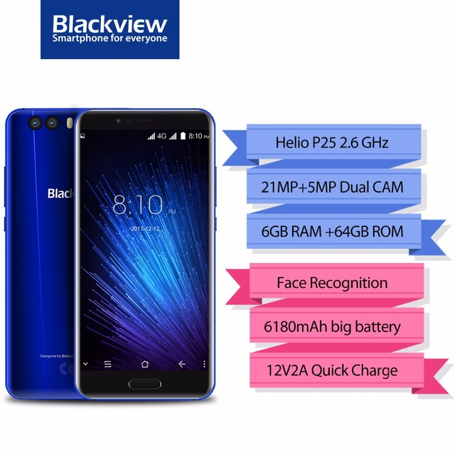 "Blackview P6000 Smartphone 5.5"" 16:9 FHD Full Screen 6GB+64GB Helio P25 Octa Core 6180mAh 21+0.3MP Face Recognition 4G Phone"