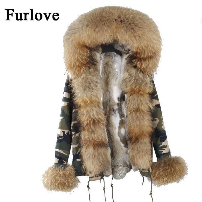 Natural big size raccoon fur collar hooded jacket women parka real rabbit fur coat New fashion thick parkas casual warm jackets faux rabbit fur brown mr short jacket sleeveless with big raccoon collar fall coat