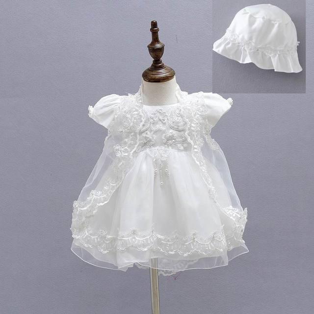 Atacado 2015 Novos Vestidos de Batismo Do Bebê Primeiro Aniversário Da Princesa Vestido 0-18 M Vestido + Casaco + Chapéu 1775