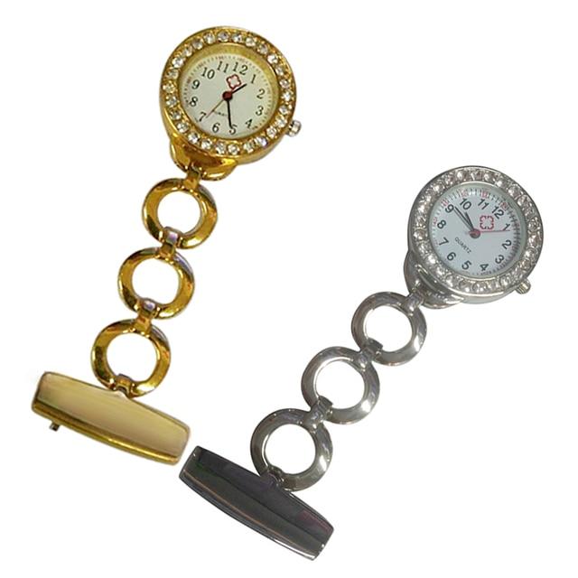 Luxury Diamond Insert Stainless Steel Medical Doctor Nurse Brooch Pocket Watch Q