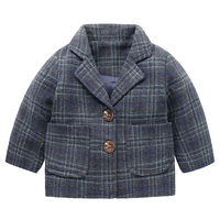 Boy Plaid Woolen Coat Small Suit Jacket 2017 Winter Autumn Kids Children Baby
