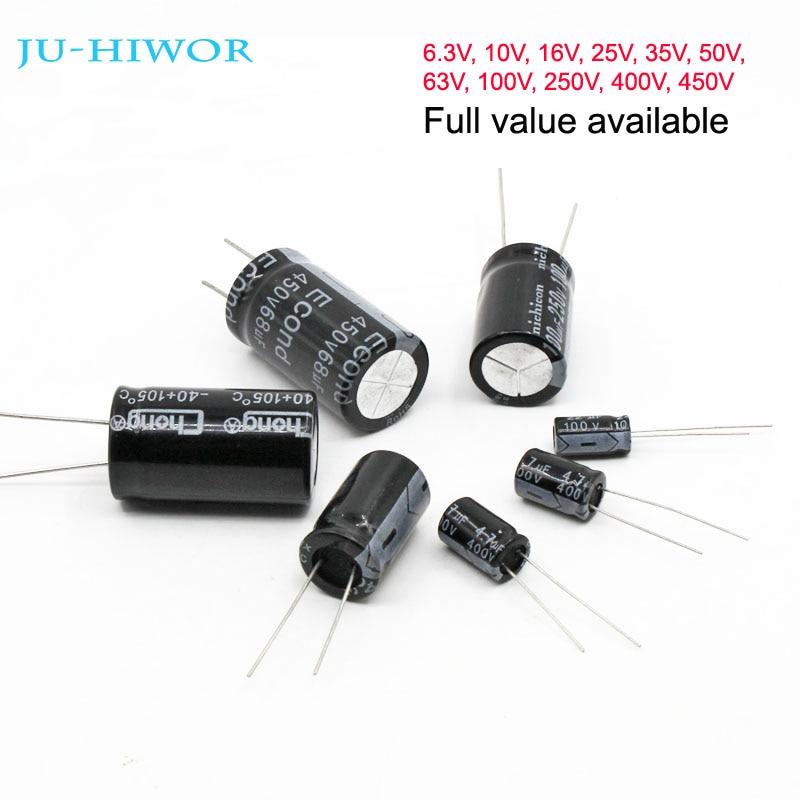 Full Value Aluminum Electrolytic Capacitor 6.3V 10V 16V 25V 35V 50V 63V 100V 250V 400V 450V 10uF To 1000uF 1000uF To 4700uF