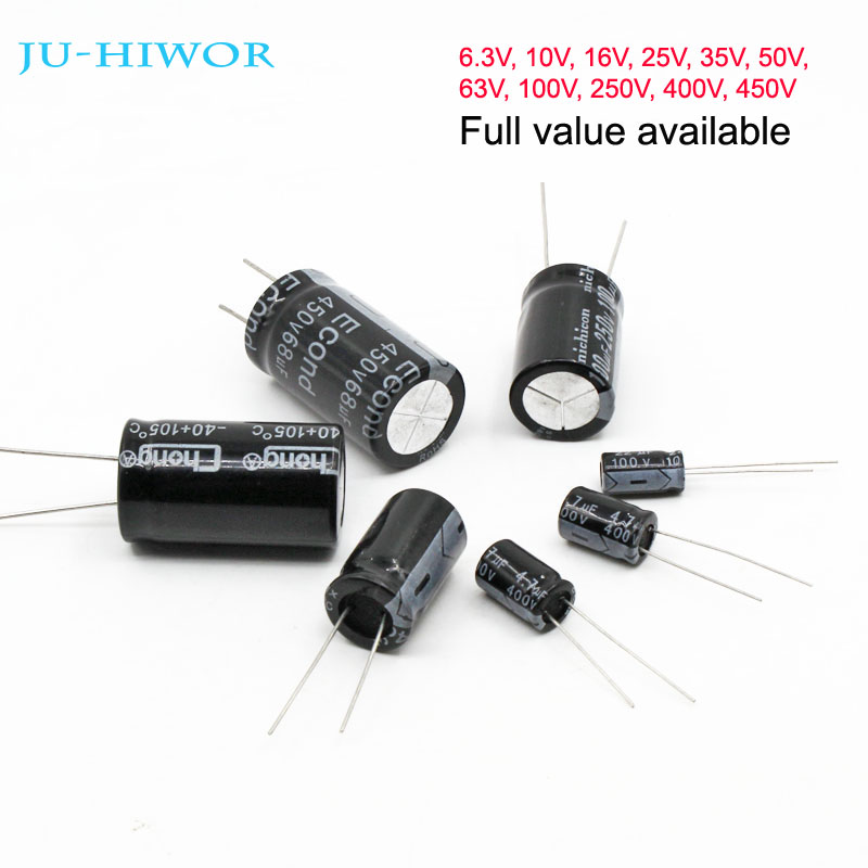 Electronics-Salon 50pcs 10uF 50V Aluminum Radial Through Hole Electrolytic Capacitor.