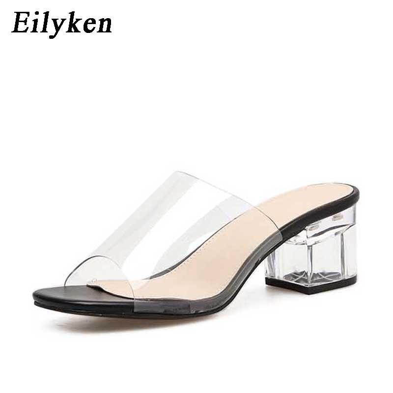 8118 Tacón Mujer Zapatillas v20 Eilyken De Cuadrado Gladiador Black Deslizamiento Para 8118 Sandalias Apricot Verano V20 5 5 Cristal 2018 Moda Zapatos 8YZqc0w
