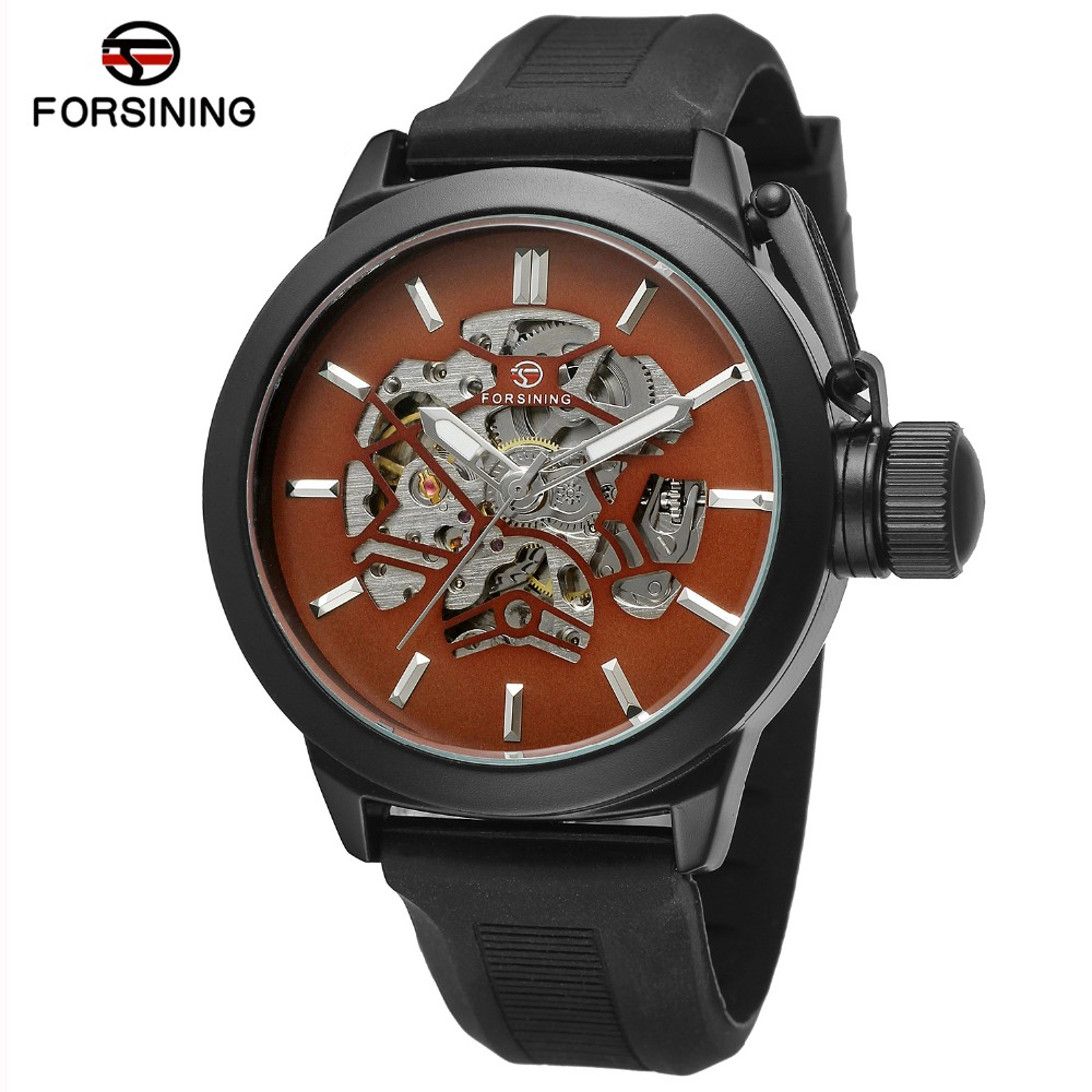 2017 New Fashion Forsining Watch Men Skeleton Luxury Brand Automatic Mechanical Watches Sport Big Crown Model