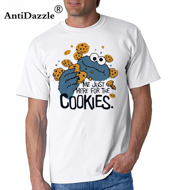 7d4f3472e88 Funny Me just here for cookies T Shirt Men Novelty Sesame Street Cookie  Monster T-