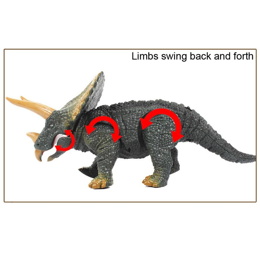 Walking Remote Control Dinosaur Triceratops Toy Model Light Sound Action Figure 100% brand new and high quality Education Toy