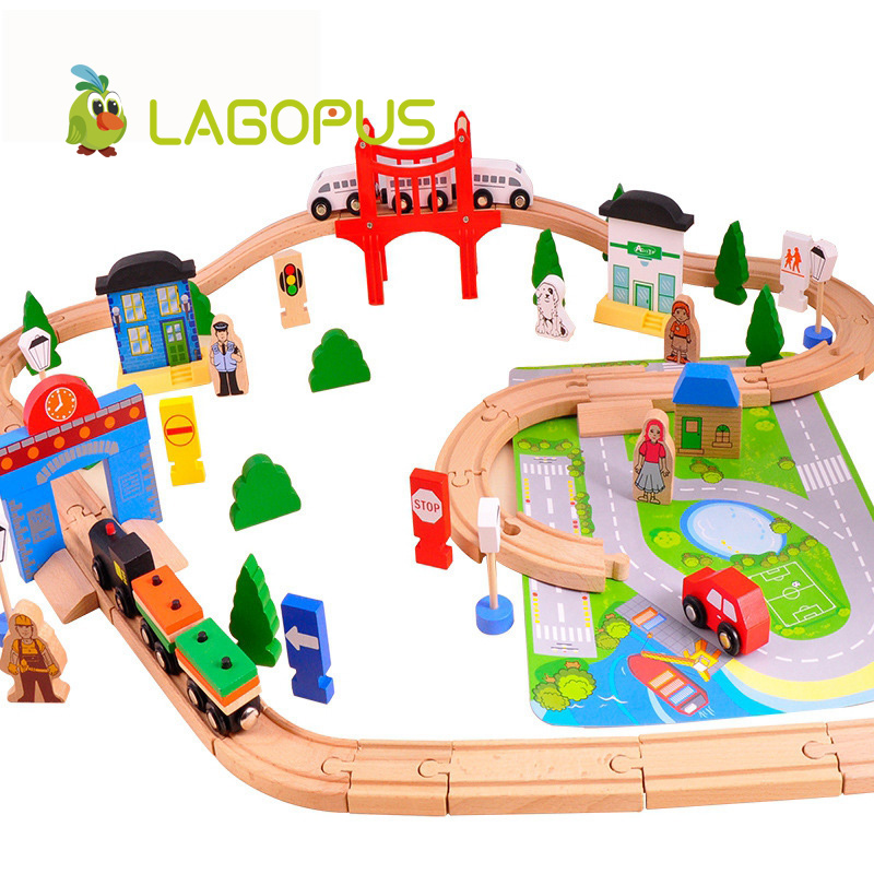 37pcs Train Set Wooden Airport 8 Types Available Wooden Train Track Pack Train Toys Early Education
