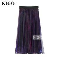 KIGO 2017 Women Purple Metallic Pleated High Waist Vintage Mesh Skirt Midi Length Elastic Waist Retro