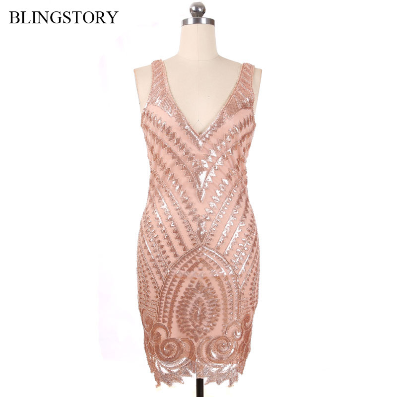 BLINGSTORY Europe High Quality Vintage Nail Bead V Collar Banquet Evening Vestidos Luxurious Backelss Summer Dress KR2012