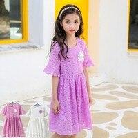 Crochet lace floral dress dziewczyna party nastoletnie ubrania wiosna lato 2018 biały fioletowy flare rękawy księżniczki dziewczynka sukienka