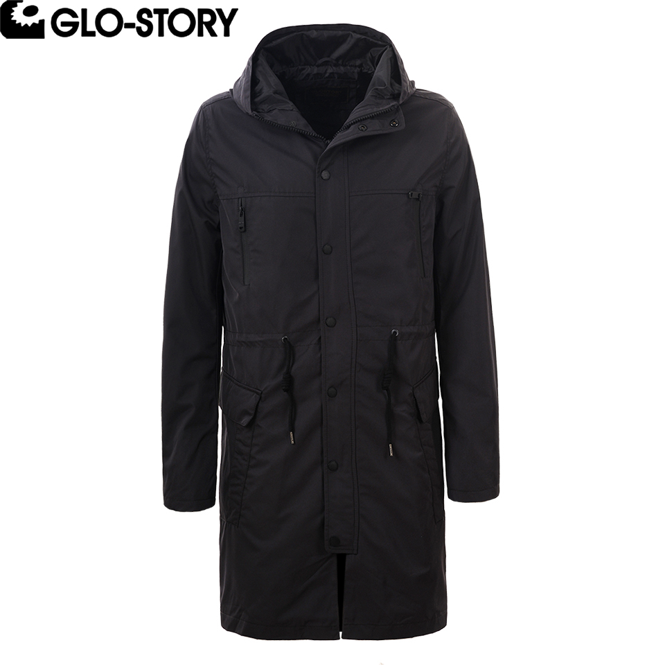 GLO-STORY Men's 2018 Spring New Fashion Long   Trench   Coat Men Adjustable Waist Windbreaker Hoodie Jacket Coat MSX-3788