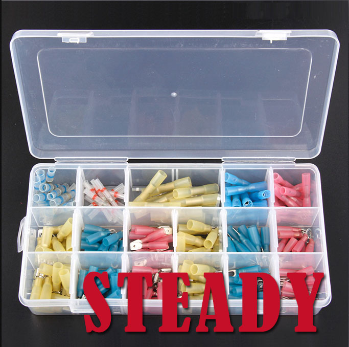 ФОТО 180PCS Fully Insulated Spade Heat Shrink Electrical Connectors Waterproof Wire Solder Ring Fork Butt Terminals Kits