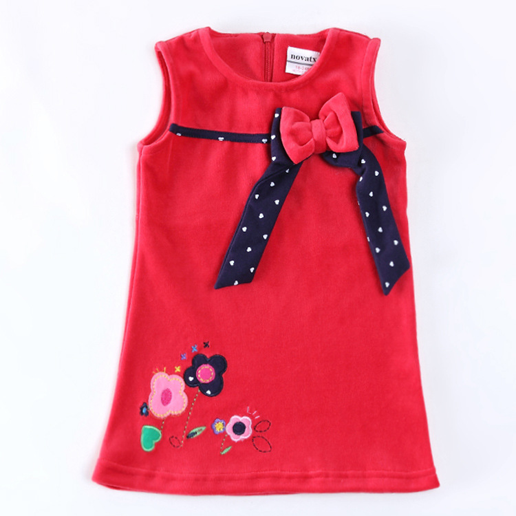 Embroidery Flowers Children Dress Baby Girls Clothing Kids Wear New