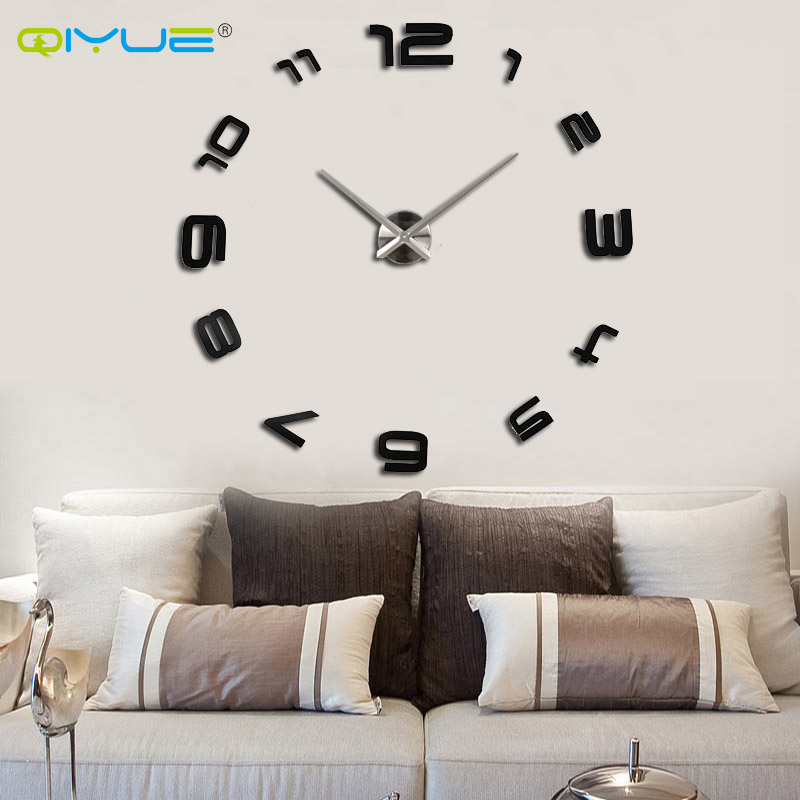 Home decorations big mirror wall clock Modern design large ...