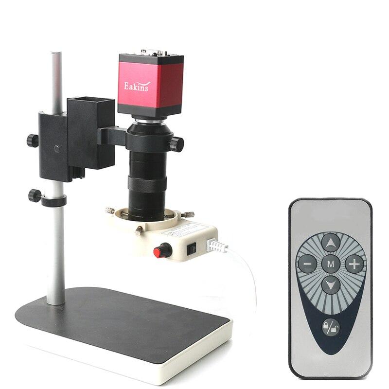 Numérique HDMI VGA Industrielle Microscope Vidéo Caméra ensembles 14MP 1080 p + 130X C monture + A MENÉ LA Lumière d'anneau + support Double sortie d'affichage
